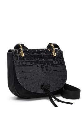 Black Croc Zoe Saddle Bag by Elizabeth and James Accessories