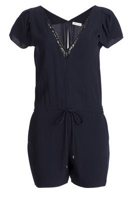 Navy Plunge Romper by Rebecca Taylor