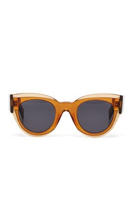 Brown Large Round Sunglasses by Céline