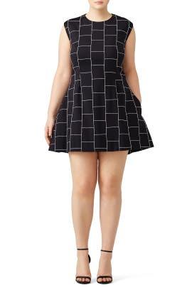 Christian Siriano - Black Checked Dress