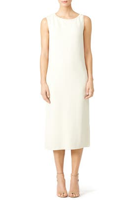 Cream White Double Crepe Dress by Nina Ricci