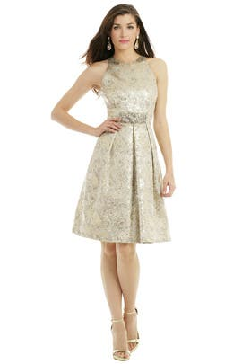 Carmen Marc Valvo - Metallic Elderflower Dress