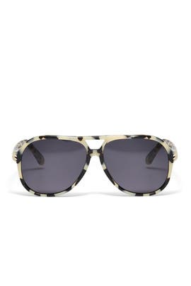 Beige Tortoise Aviator Sunglasses by Stella McCartney