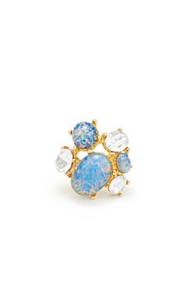 Blue Opal Cluster Ring by Kenneth Jay Lane