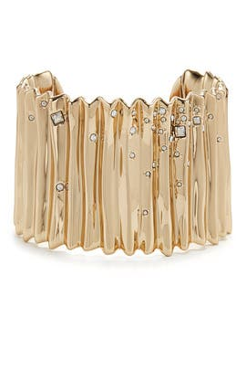 Gold and Crystal Pleated Cuff by Alexis Bittar