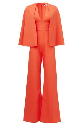 Red Amadeo Revolve Cape Jumpsuit by Alexis