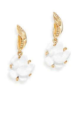 White Flower Crystal Earrings by Oscar de la Renta