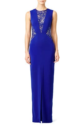 Blue Lace Crepe Gown by Nicole Miller