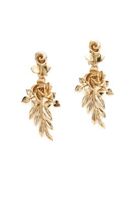 Rose and Leaf Gold Vine Earrings by Oscar de la Renta