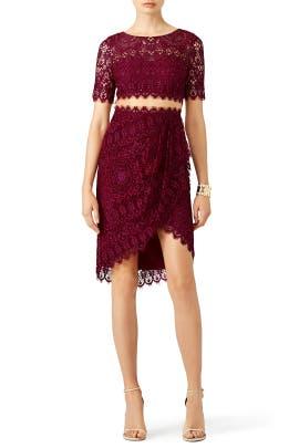 Magenta Midriff Lace Cocktail Dress