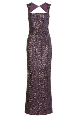 Sequin Tyrian Purple Gown by Nicole Miller