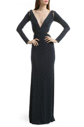 Z Spoke Zac Posen - Studded Jersey Cutout Gown