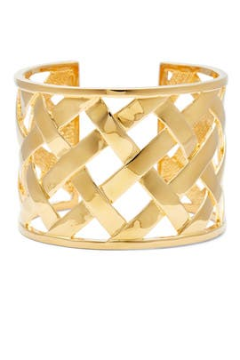 Gold Basketweave Cuff by Kenneth Jay Lane