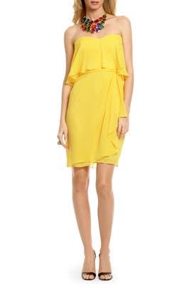 Badgley Mischka - Yellow Peacock Chiffon Dress