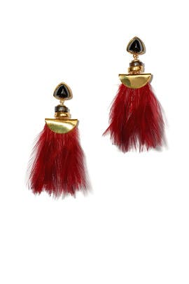 Burgundy Parrot Earrings by Lizzie Fortunato