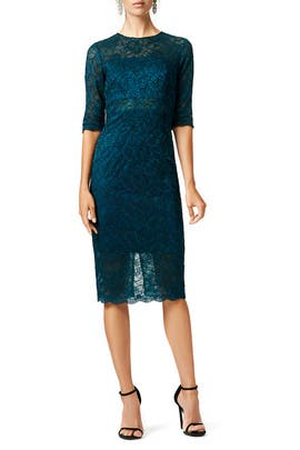 ML Monique Lhuillier - Lace me in Teal Dress