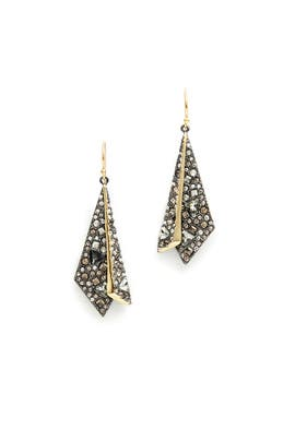 Crystal Encrusted Layered Origami Earrings by Alexis Bittar
