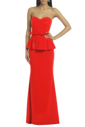 Badgley Mischka - Rouge Rosalind Peplum Gown