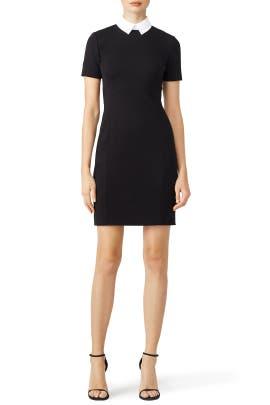 Black Contrast Collar Ponte Dress