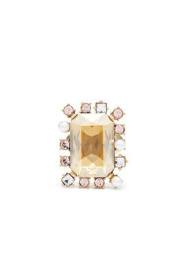 Gold Shadow Octagonal Stone Ring by Oscar de la Renta
