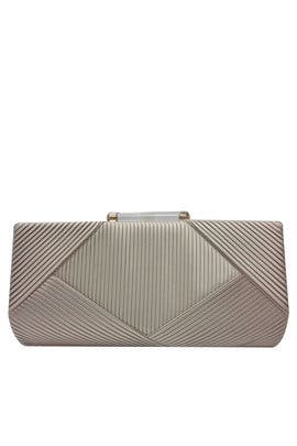Taupe Pleated Minaudiere by Sondra Roberts