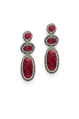 Encrusted Ruby Drop Earrings by Slate & Willow Accessories