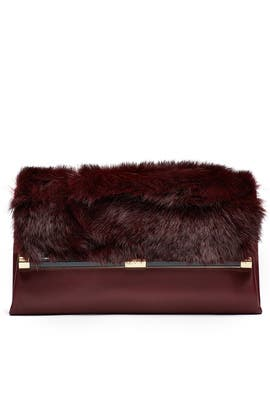 Leather and Fur Envelope Clutch by Diane von Furstenberg Handbags