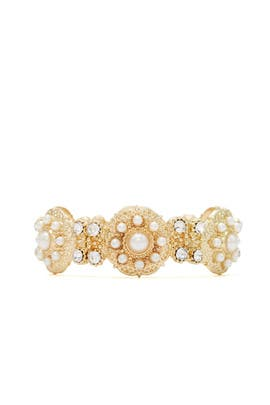Gold Pearl Stretch Bracelet by Slate & Willow Accessories