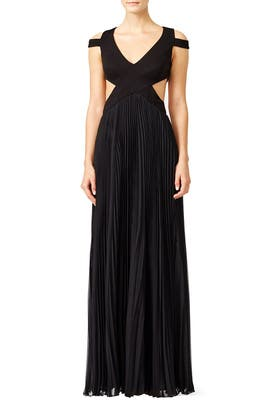 Black Chevron Twirl Gown by Mignon