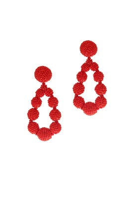Red Beaded Teardrop Earrings by Sachin & Babi Accessories