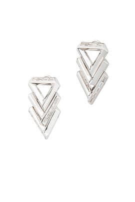 Silver Twill Chevron Earrings by Eddie Borgo