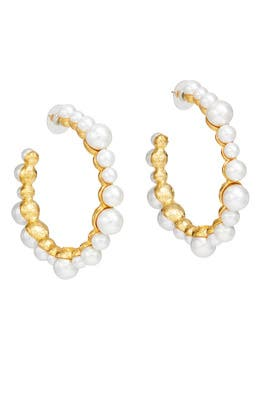 White Pearl Hoop Earrings by Kenneth Jay Lane