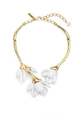 Magnolia Resin Flower Necklace by Oscar de la Renta