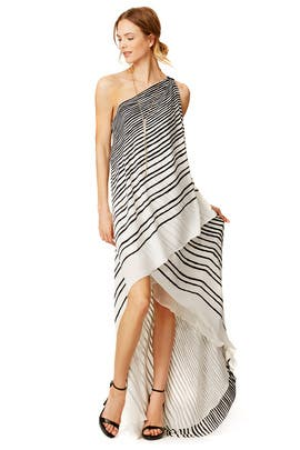 Draped Stripe Maxi Dress by Halston Heritage