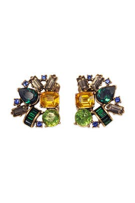 Oscar de la Renta - Emerald Confetti Cluster Earrings