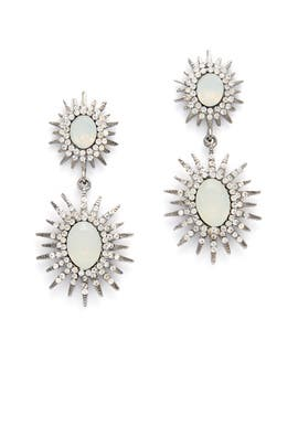 Iridescent Silver Starburst Drop Earrings by Slate & Willow Accessories