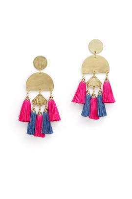Fuchsia Bali Tassel Earrings by Area Stars