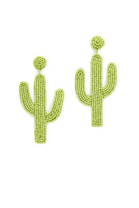 Saguaro Cactus Beaded Earrings by Kenneth Jay Lane