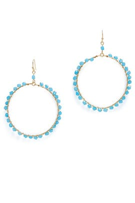Blue Beaded Hoop Earrings by Ettika
