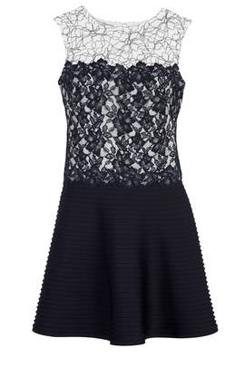 Navy Notes Dress by Tadashi Shoji