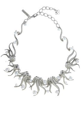 Silver Sea Swirl Pearl Necklace by Oscar de la Renta