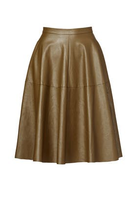 Olive Leather Skirt by J.O.A.