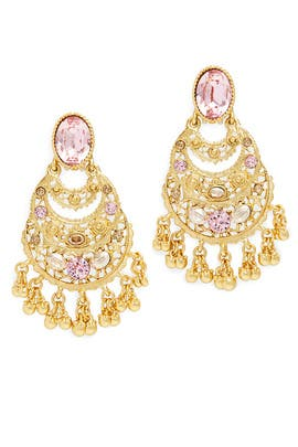 Pink Crystal Filigree C Earrings by Oscar de la Renta