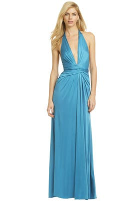 Issa - Plunging Blue Wrap Gown
