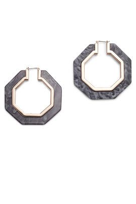 Octagon Resin Hoop Earrings by Rebecca Minkoff Accessories