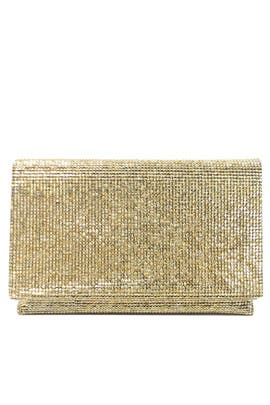 Gold Foldover Clutch by Sondra Roberts