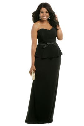 Badgley Mischka - Noir Bow Peplum Gown
