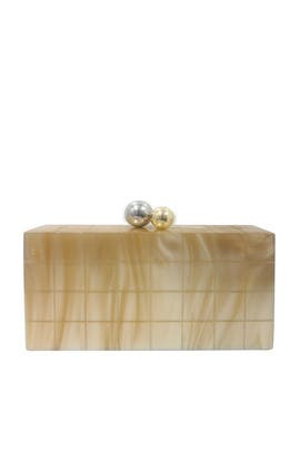 Beige Resin Kisslock Minaudiere by Sondra Roberts