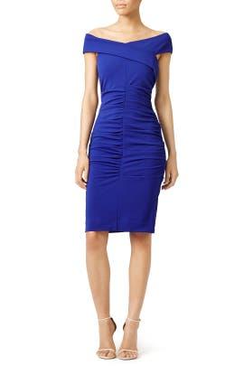 Royal Blue Structured Off The Shoulder Dress
