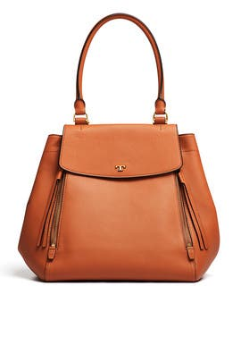 Tan Half Moon Tote by Tory Burch Accessories